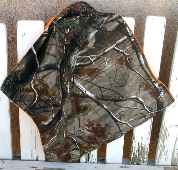 infant blanket 30X30 realtree or mossy oak Camo and orange minky