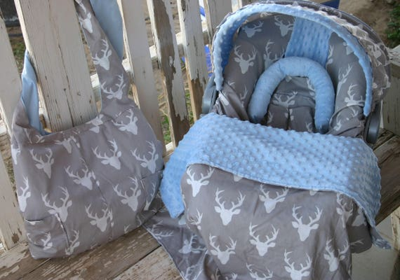 gray with white bucks w/baby blue minky infant car seat cover and hood cover w/optional matching diaper bag,headsupport,strap covers,blanket