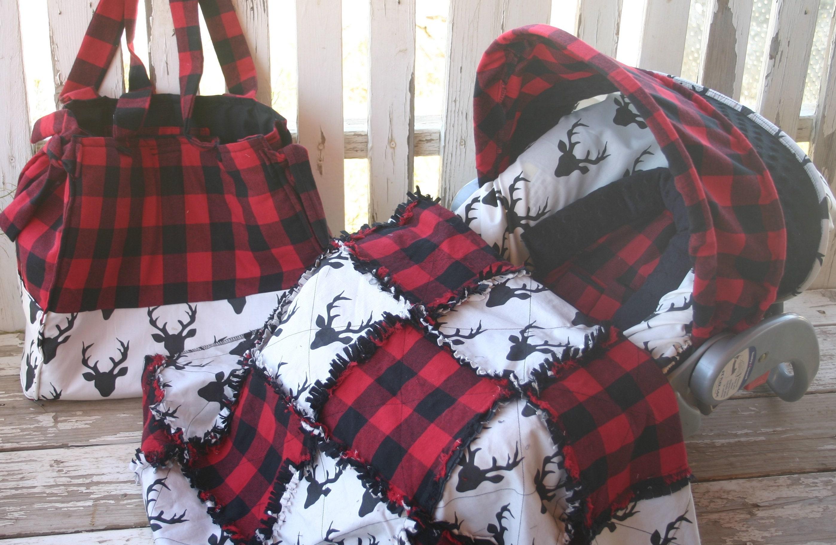 Buffalo Plaid W Black Bucks Infant Car Seat Cover And