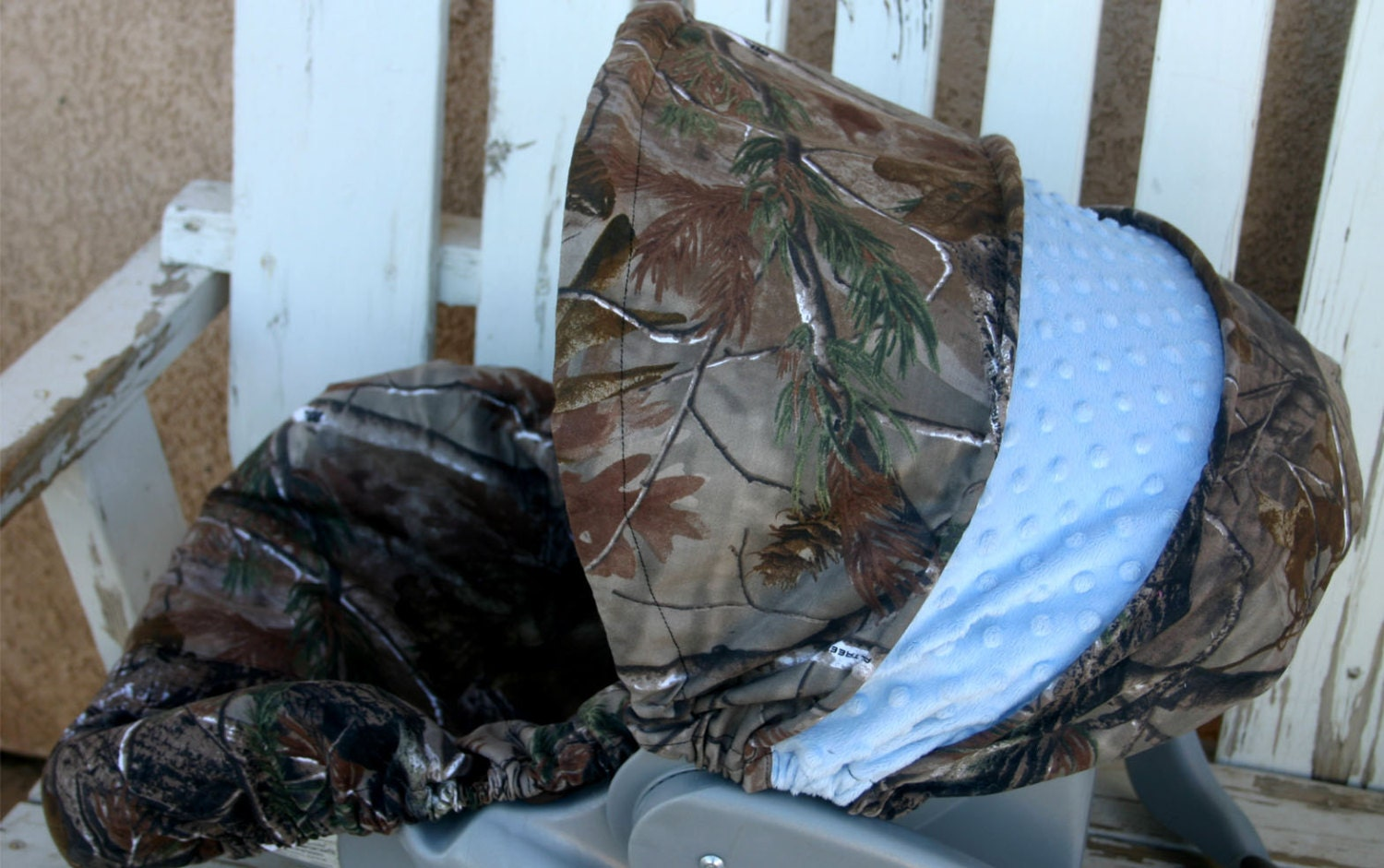 Realtree And Light Baby Blue Minky Car Seat Cover And Hood