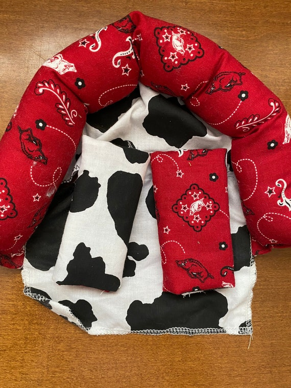 READY TO SHIP black and white cow cotton with red bandana infant head support and strap covers