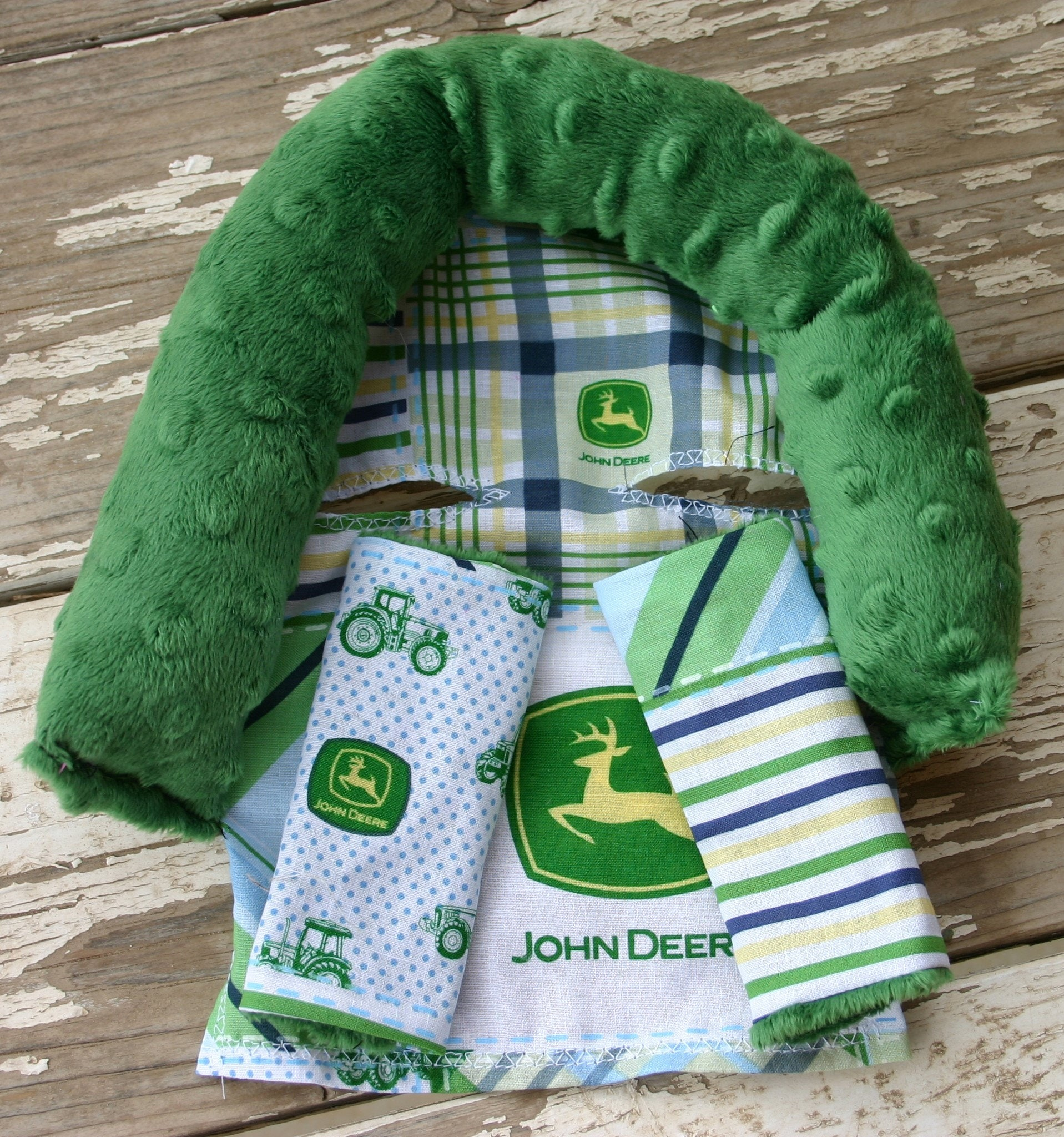 john deere with grass green minky infant head support and ...