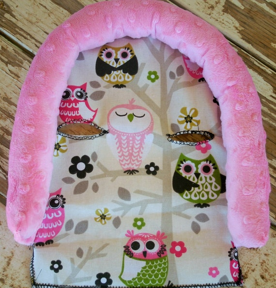 sit n a tree owls and baby pink minky infant car seat head support