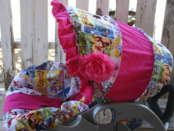 baby Car seat cover and hood Disney posters w/ pink cotton