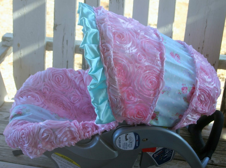 baby infant car seat Cover /& hood cover pink leopard//cheetah minky and black