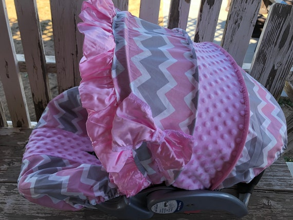 gray, white and baby pink chevron and baby pink minky infant car seat cover and hood with optional strap covers and headsupport