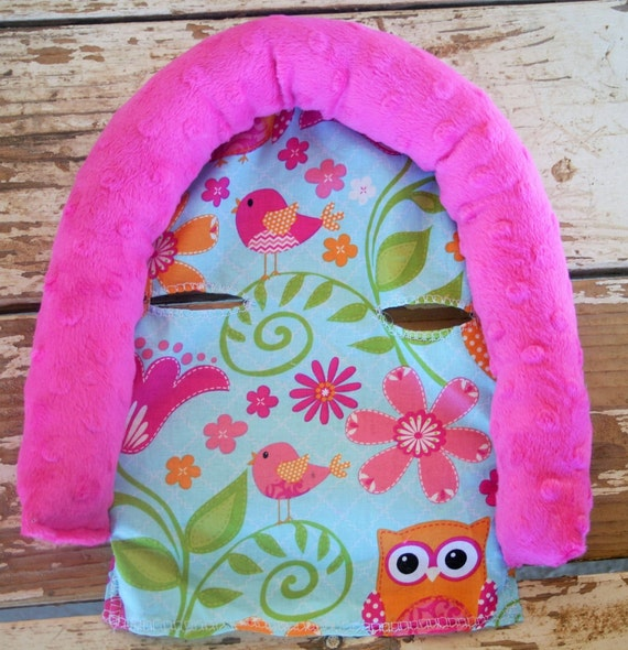pink owls and pink minky infant head support and/or strap covers