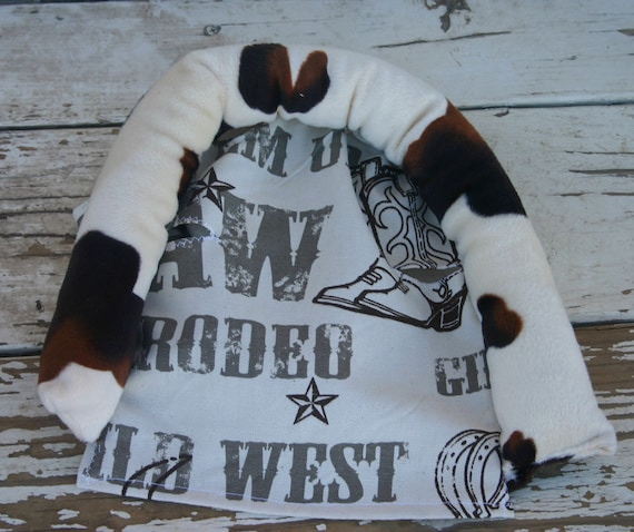 baby head support and strap covers Brown and tan cow print and cowboy taupe
