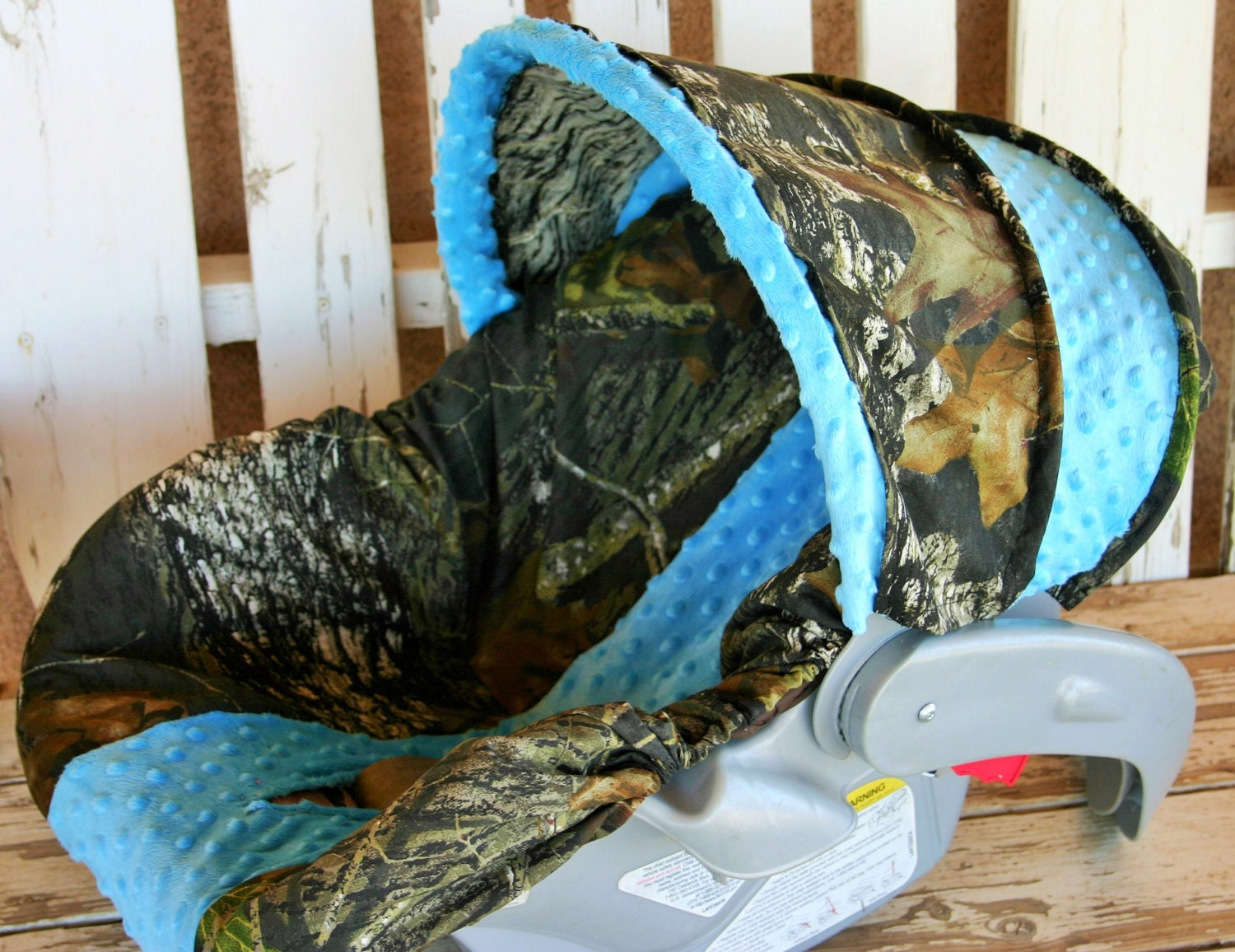 infant car seat cover and hood cover Mossy oak camo and teal//turquoise minky