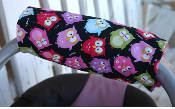 baby padded handle cushion for infant car seat Bright owls and pink minky