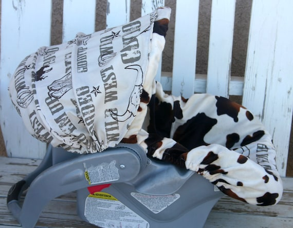 baby Car seat cover and hood cover Brown and tan cow print and cowboy taupe