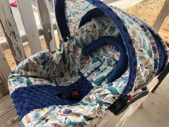 Gone fishing with navy blue minky infant car seat cover and hood cover with optional headsupport and strap covers