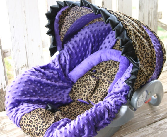 leopard/cheetah and purple minky car seat cover and hood cover with ruffle with optional headsupport and strap covers