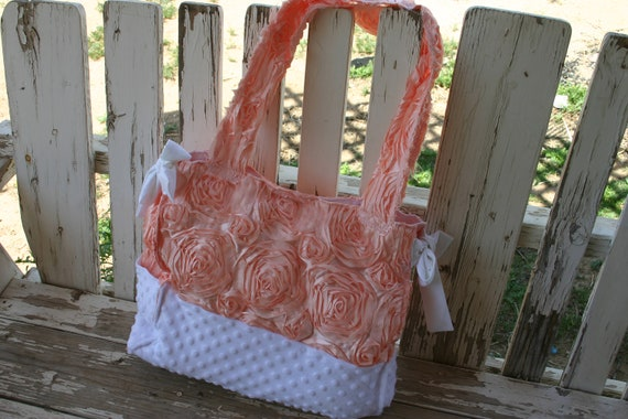large rectangle diaper bag with bluch 3D roses with white minky bottom with two side pockets