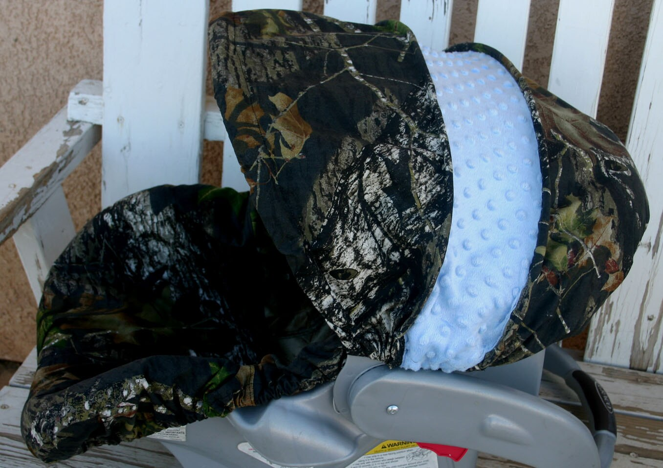 Mossy Oak Camo With Light Baby Blue Minky Car Seat Cover