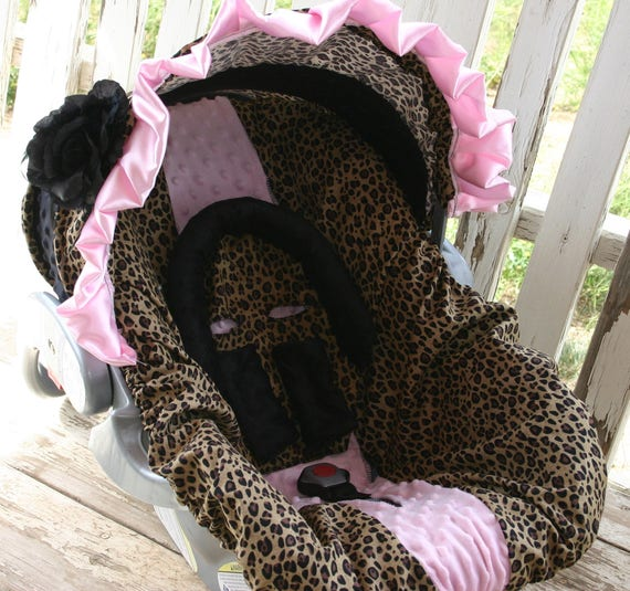 leopard and black minky hood with baby pink ruffle and flower with leopard w/baby pink car seat cover w/ optional headsupport and strap cove