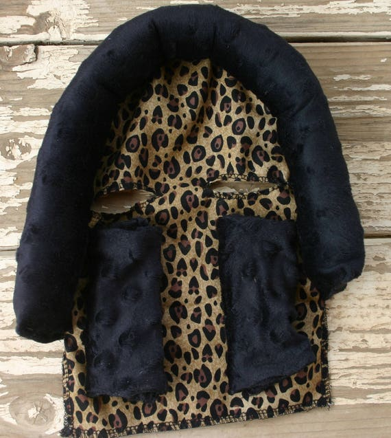 leopard / cheetah and black minky infant head support and/ or strap covers