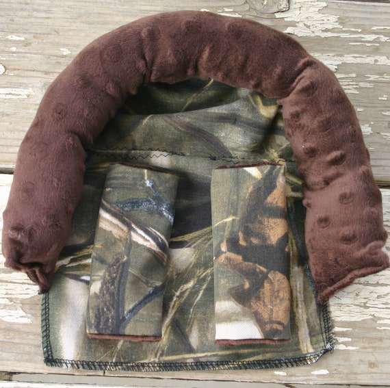 realtree max 4 and brown minky infant head support and/or strap covers