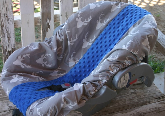 gray with white buck heads and royal blue minky infant car seat base cover only