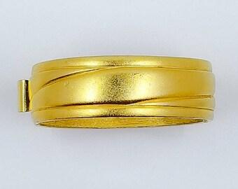 Vintage Monet Matte Finish Oval Hinged Bangle Bracelet