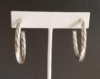 Vintage Silver Tone Metal Spiral Hoops