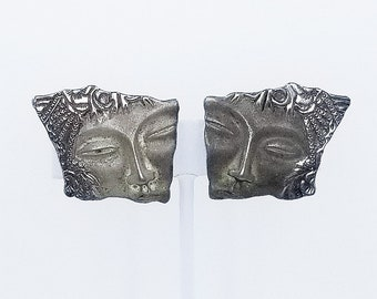 Faces in Relief Mexican Silver Earrings