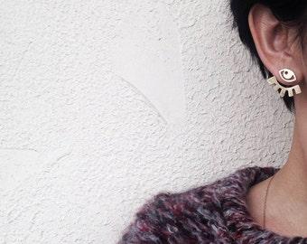 Evil eye earrings Eye studs Ear jacket with white topaz Delicate Convertible earrings