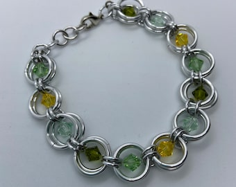Green Shades Swarovski Crystal Bracelet | Crystal Chainmaille Bracelet | Green Jewelry | Aluminum Chainmaille Bracelet