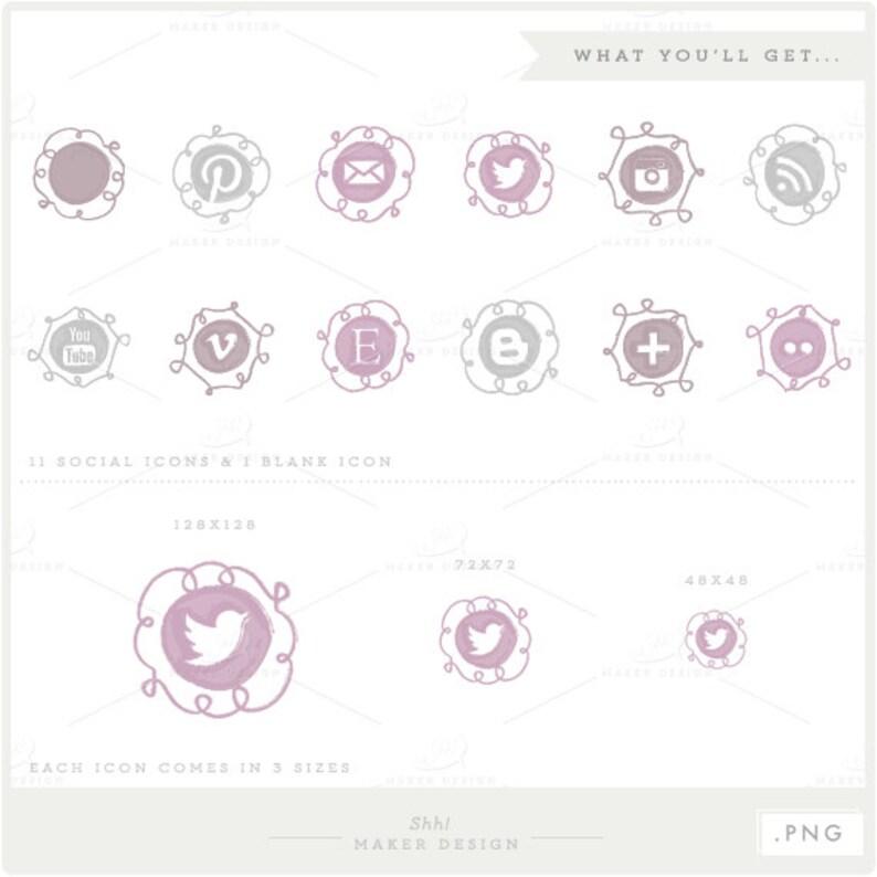 Social Media Icons - VECTOR Files - Lavender & Grey Ombre