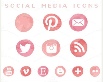 Social Media Icons - VECTOR Files - for Blogs & Websites - Pink Ombre