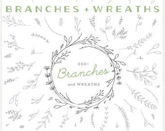 Branches Wreaths Laurels Bundle - VECTOR Files - Clip Art - Digital Graphic Set - Photo Overlays