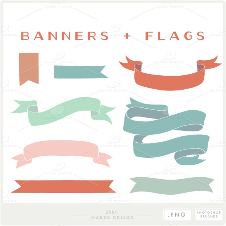 Banners and Flags - PNG Files - Photoshop Brushes - Decorative Set