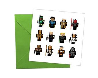 Star Wars Pixel Art Greetings Card Birthdays Christmas Gift Present Sci Fi Movies TV