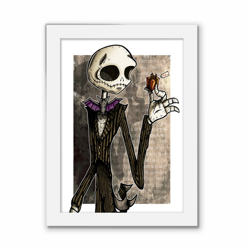 Halloween Jack Skellington Scary.Jack Skellington Print Halloween Art Scary Picture Tim Burton Gift Nightmare Before Christmas Xmas Present Gothic