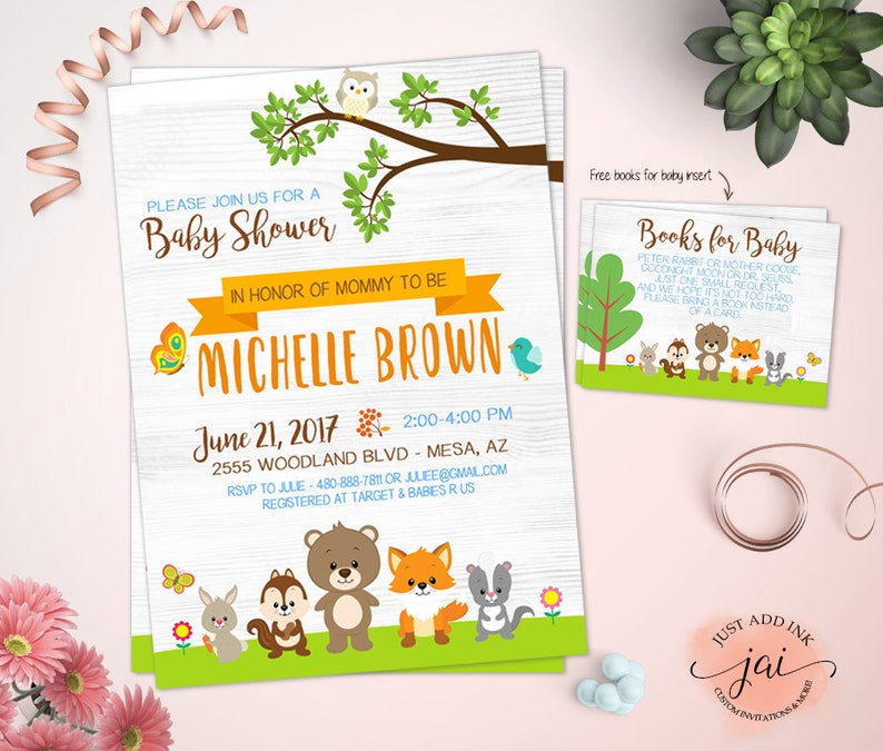 Woodland Animal Baby Shower Invitation Free Books For Baby Insert Forest Baby Shower Fox Baby Shower Woodland Birthday Invitation