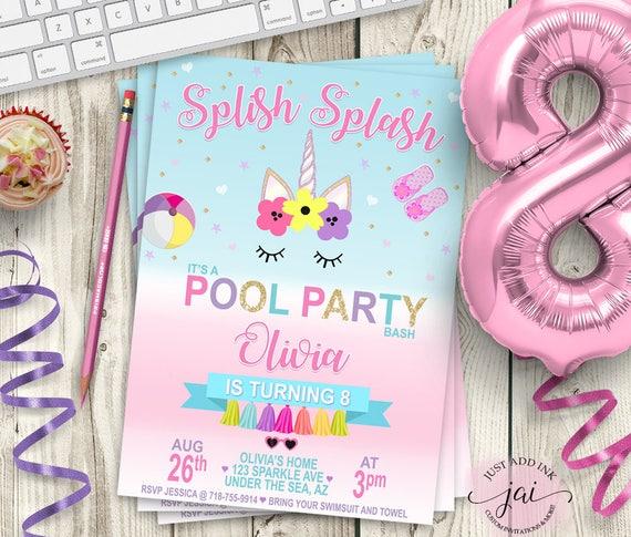 Printable unicorn pool party invitation unicorn party etsy image 0 filmwisefo