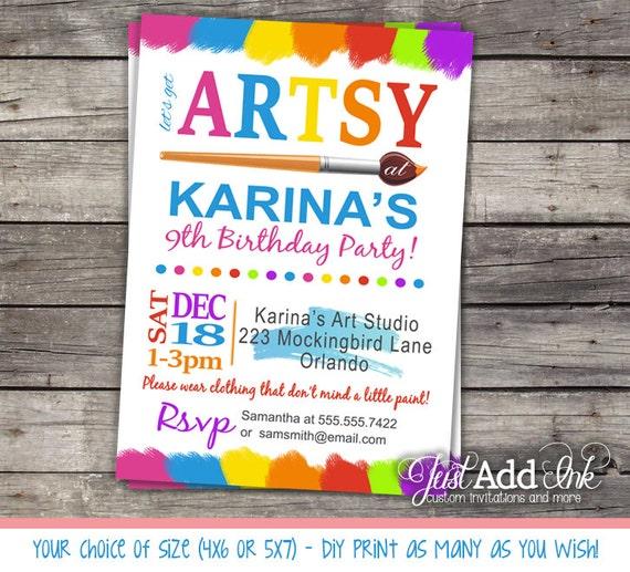 Rainbow Art Party Invitation Invite Colorful Birthday Printable