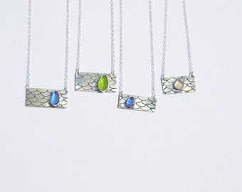 Mermaid Scale Bar Necklace with Sea Glass