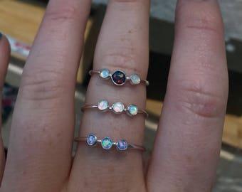 Triple Opal or Moonstone Ring