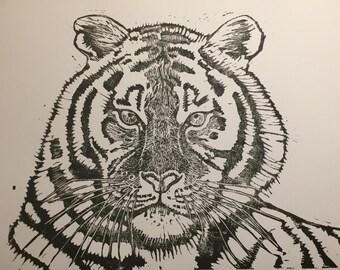 Tiger, Hand-pulled lino block print