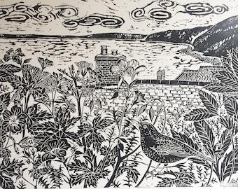 Clovelly, Blackbird and Geranium, lino block print
