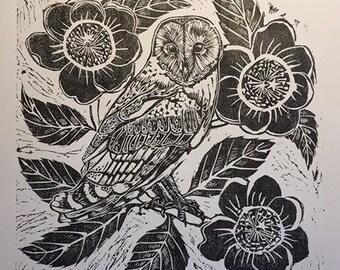Barn Owl and Camellia lino block print