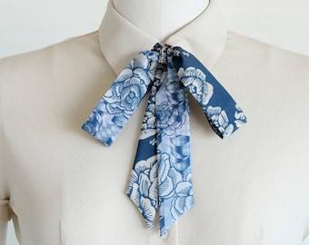 Blue skinny scarf, illustrated rose skinny scarf, women's accessories, choker bow, boho bowtie, hair tie, denim style