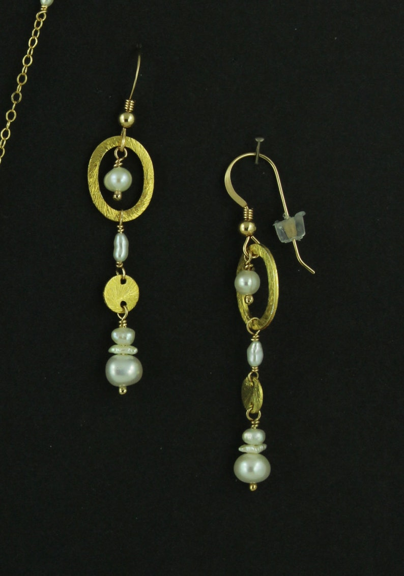 Freshwater Bawa Cultured Pearl Necklace Earring Set Gold 14K GF Freeform Wirewrapped New