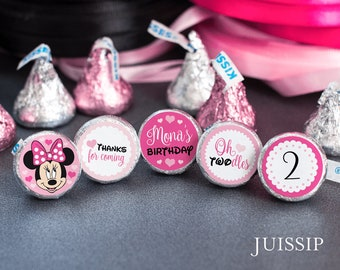 120 2nd Birthday Minnie Mouse Hershey Kiss Labels - Printed personalized stickers - party favor -  Customized second Twodles design