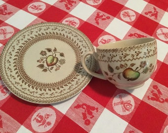 Staffordshire Old Granite, Johnson Bros, Fruit Sampler, Made in England, cup and bread and butter plate