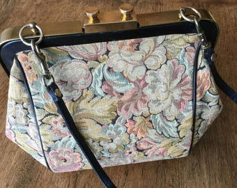 Vintage Ingber purse, brocade/tapestry, gold tone hardware, leather trim and strap