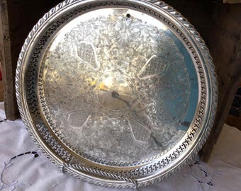 "Silver plate serving tray with lip, 13.25"" X 1.5"", Oneida"