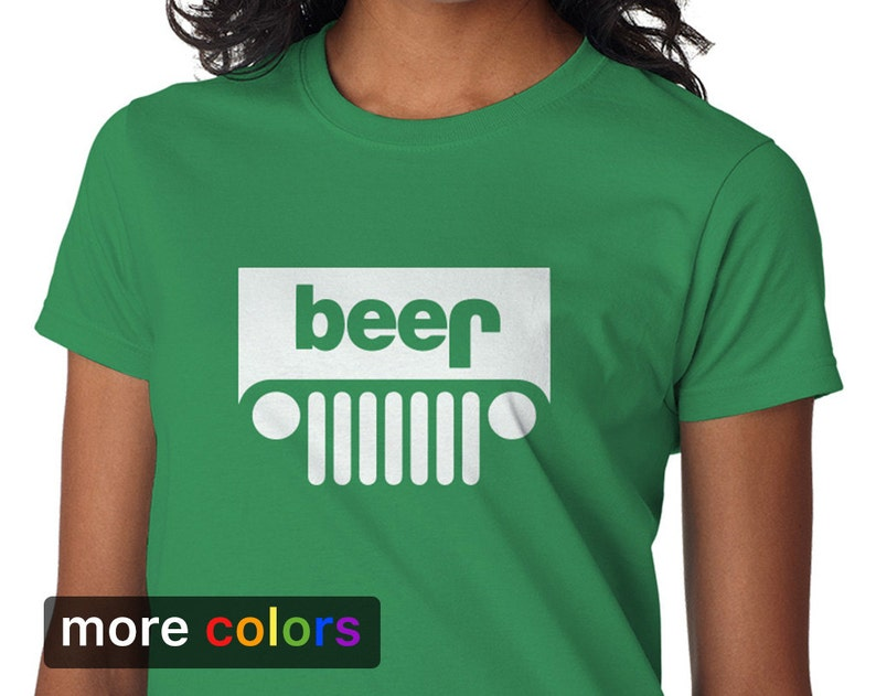 ecfeb12b5 Funny Jeep Beer Parody Womens T-shirt Tee | Etsy