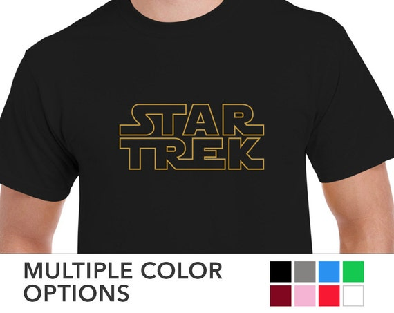 6d1e35571614 Mens STAR TREK in Star Wars Logo T-shirt Tee   Etsy